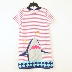 Mini Boden Shark Applique Striped Dress